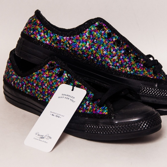 d7b7fdbb3a44ce Rainbow Speckle Sequin Converse Low Top Sneakers